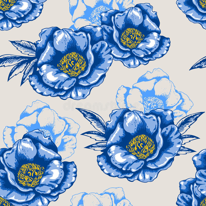 Naadloos patroon met blauwe bloemen royalty-vrije illustratie