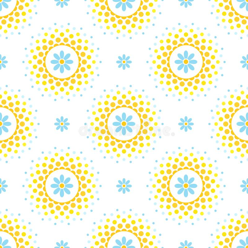 Naadloos patroon met blauwe bloemen en oranje en geel halftone cirkelkader op witte achtergrond royalty-vrije illustratie