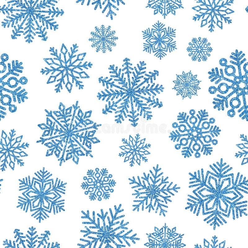 Naadloos patroon met blauwe glanzende sneeuwvlokken Kerstmisdecoratie van lovertjeconfettien royalty-vrije illustratie