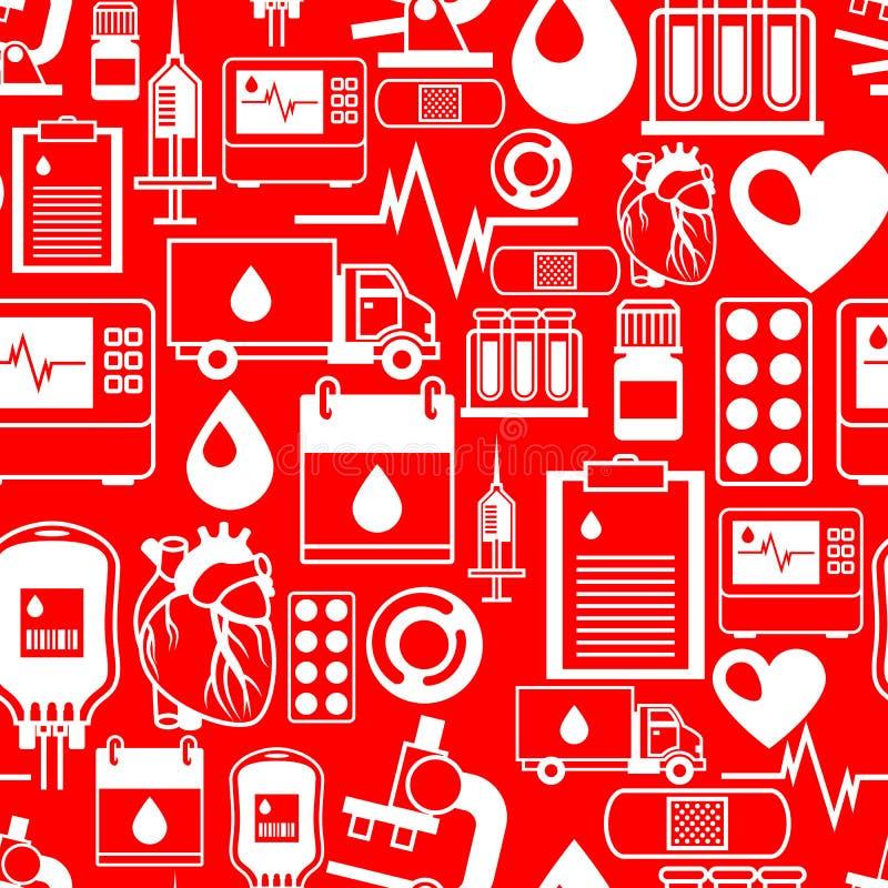 Naadloos patroon met bloeddonatiepunten Medische en gezondheidszorgvoorwerpen stock illustratie
