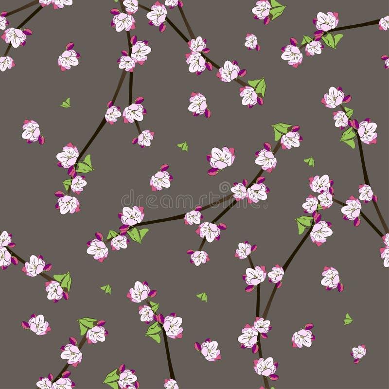 Naadloos patroon met bloeiende appeltakjes vector illustratie