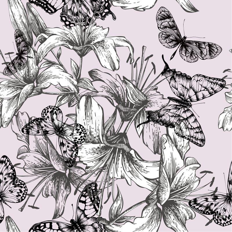 Naadloos patroon met bloeiende lelies en zwarte bu stock illustratie
