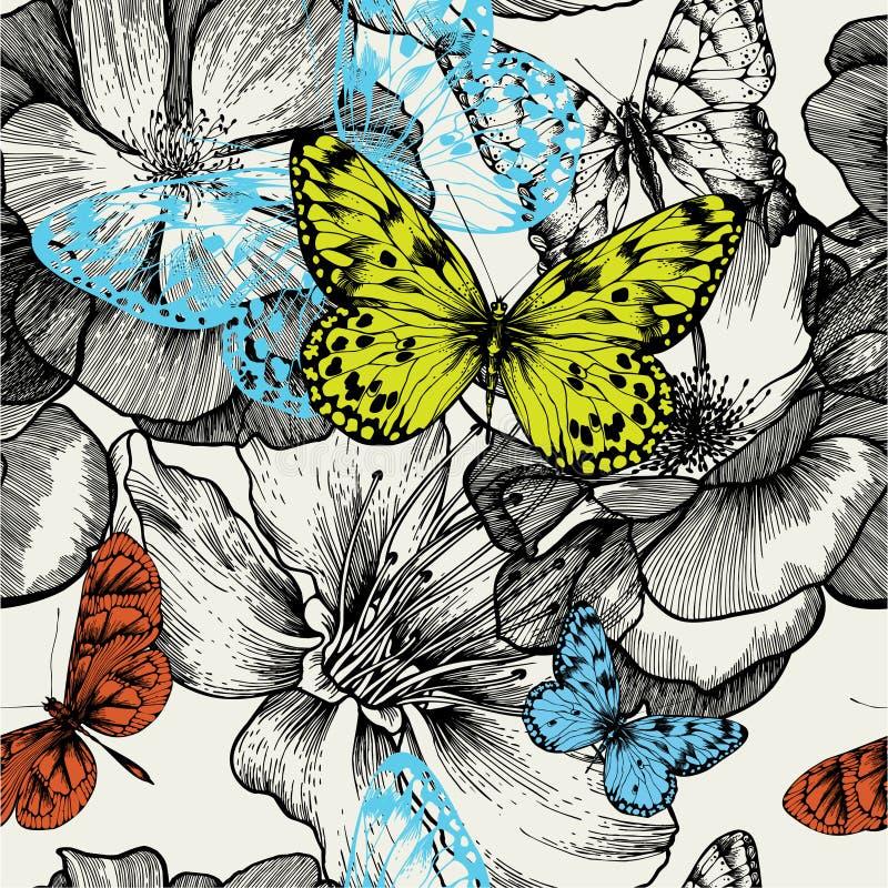 Naadloos patroon met bloeiende rozen en vliegende bu stock illustratie