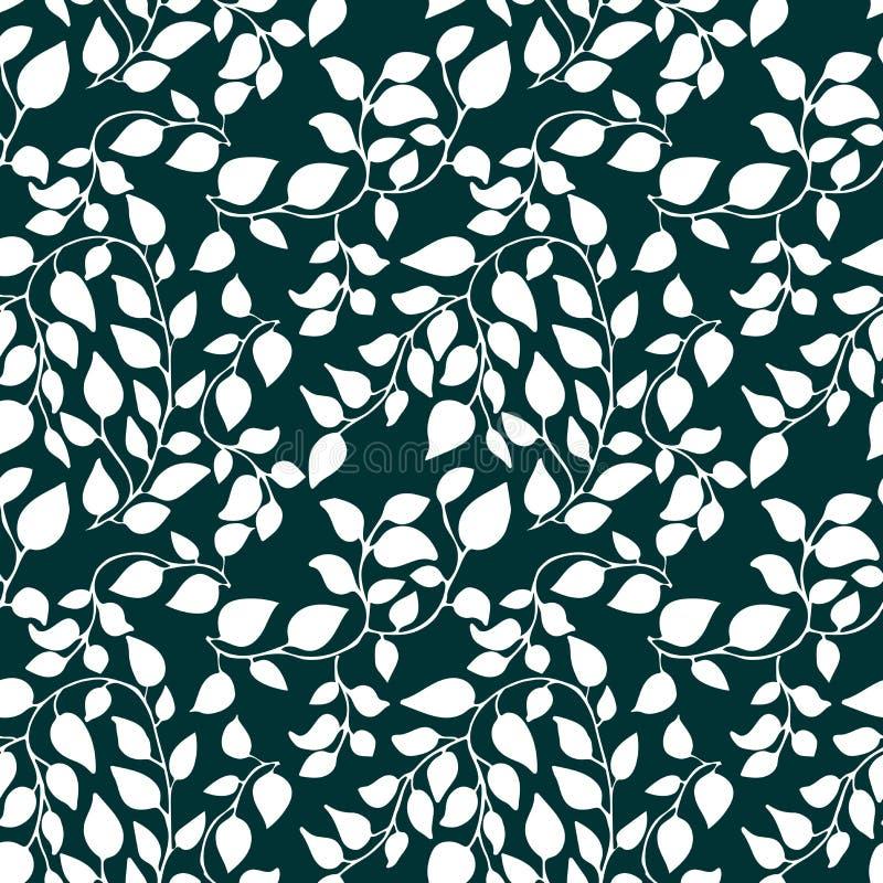 Naadloos patroon met bloemblaadje en bladeren Bloemen botanische achtergrond met overladen royalty-vrije illustratie