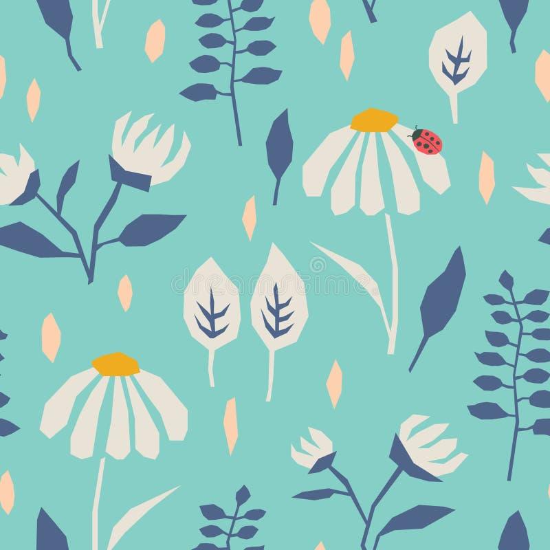Naadloos patroon met bloemen, bladeren en een lieveheersbeestje royalty-vrije illustratie