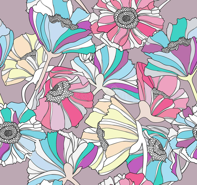 Naadloos patroon met bloemen. Bloemen achtergrond. royalty-vrije illustratie