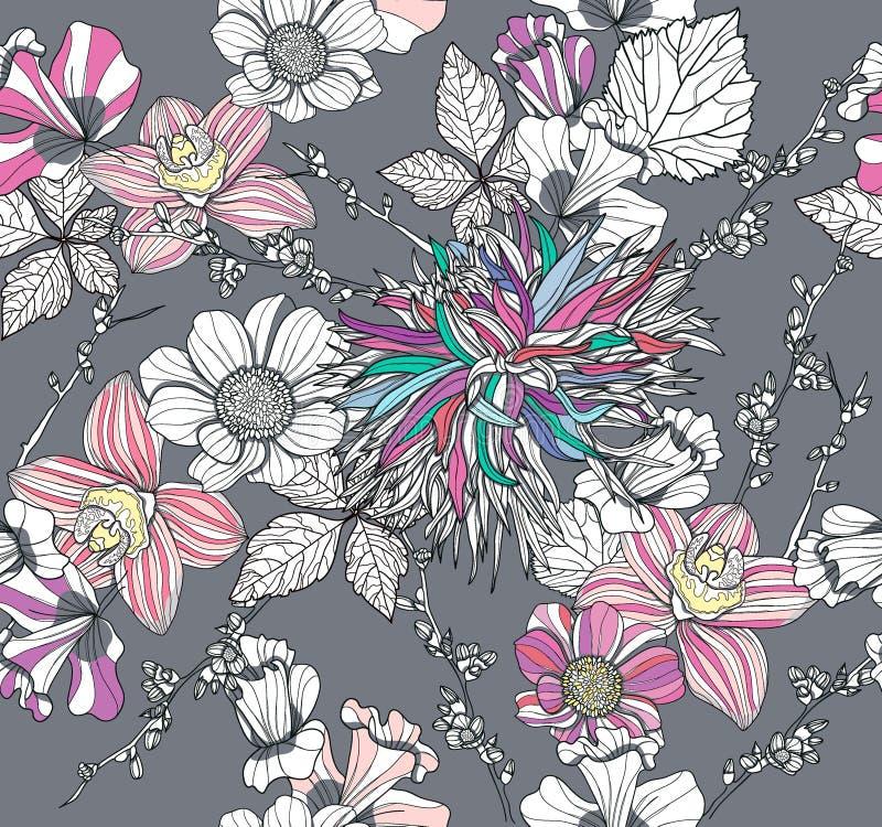 Naadloos patroon met bloemen. Bloemen achtergrond stock illustratie