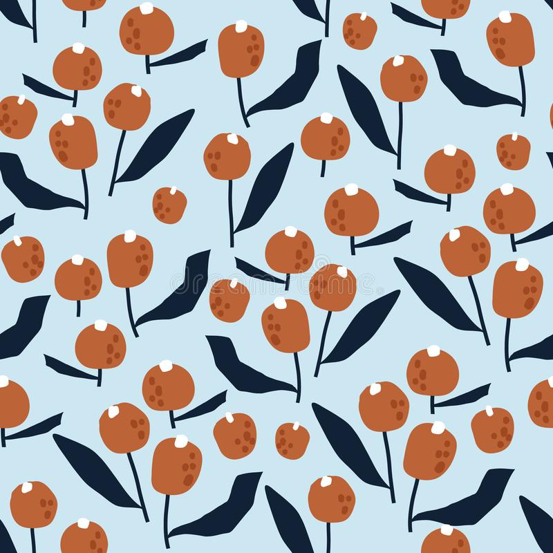 Naadloos patroon met bloemen in eenvoudige stijl Creatieve bloemenpastelkleurtextuur Groot voor stof, textiel Vectorillustratie stock illustratie