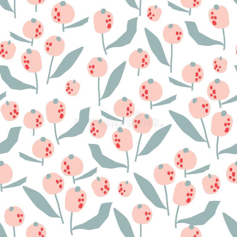 Naadloos patroon met bloemen in eenvoudige stijl Creatieve bloemenpastelkleurtextuur Groot voor stof, textiel Vectorillustratie royalty-vrije stock fotografie
