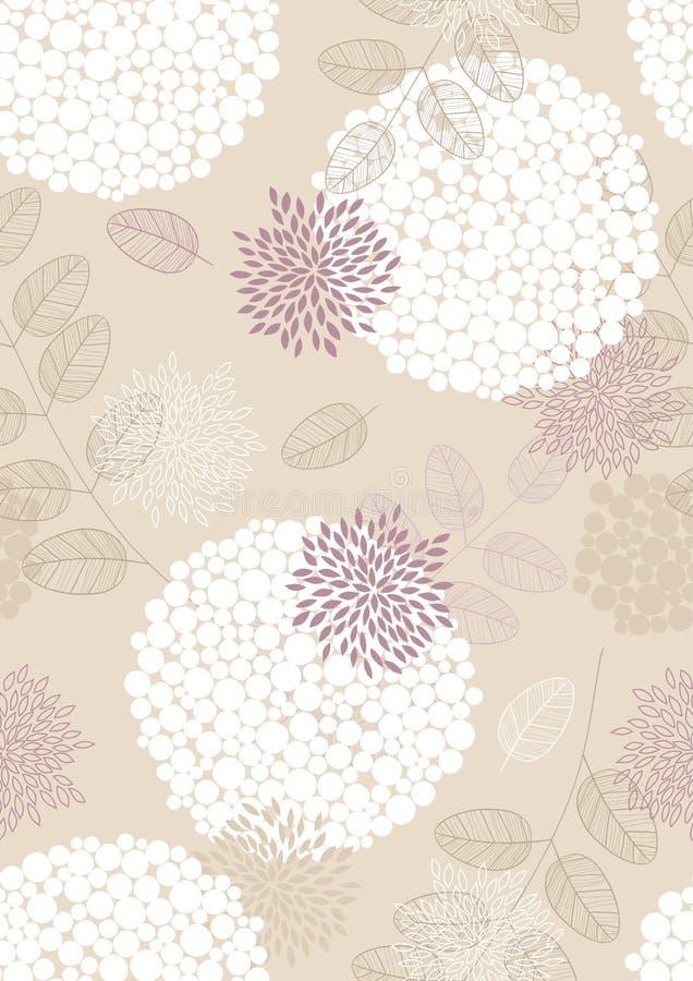 Naadloos Patroon met Bloemen en Bladeren stock illustratie
