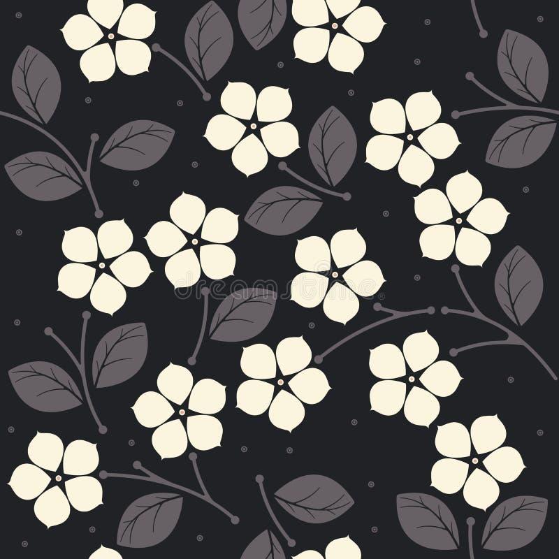 Naadloos patroon met bloemen en bladeren op blauwe backgr vector illustratie
