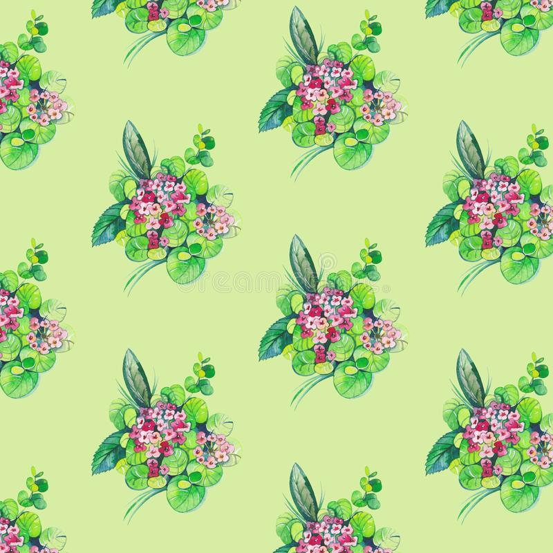 Naadloos patroon met bloemen en bladeren royalty-vrije illustratie