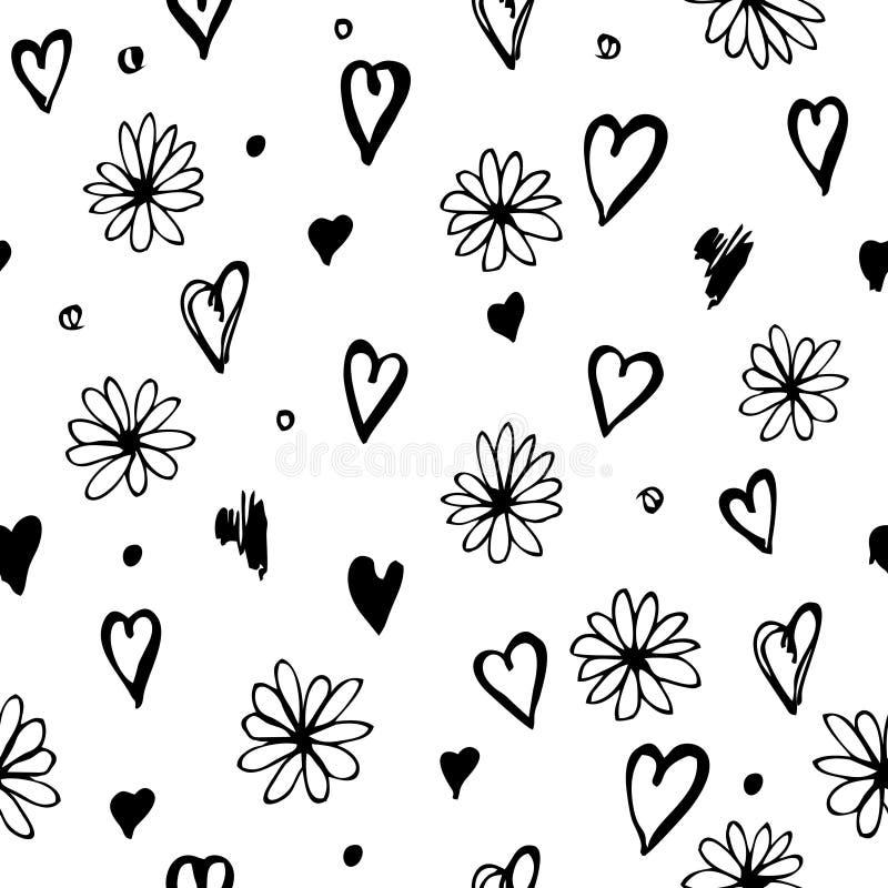 Naadloos patroon met bloemen en harten royalty-vrije illustratie