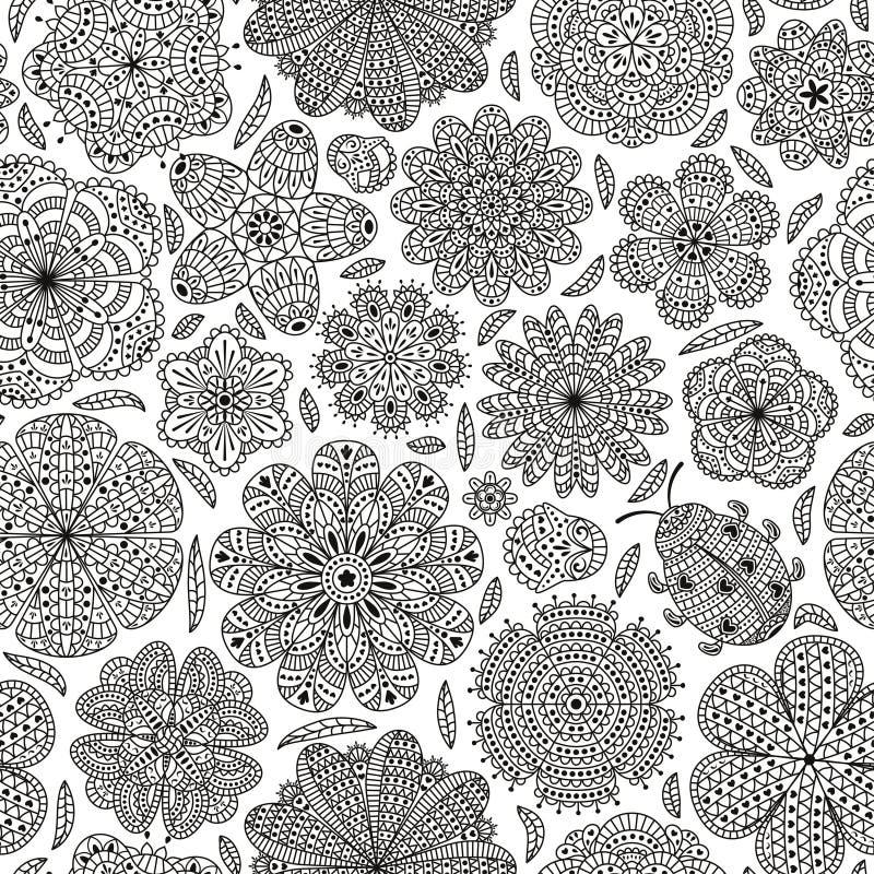 Naadloos patroon met bloemen en lieveheersbeestje stock illustratie