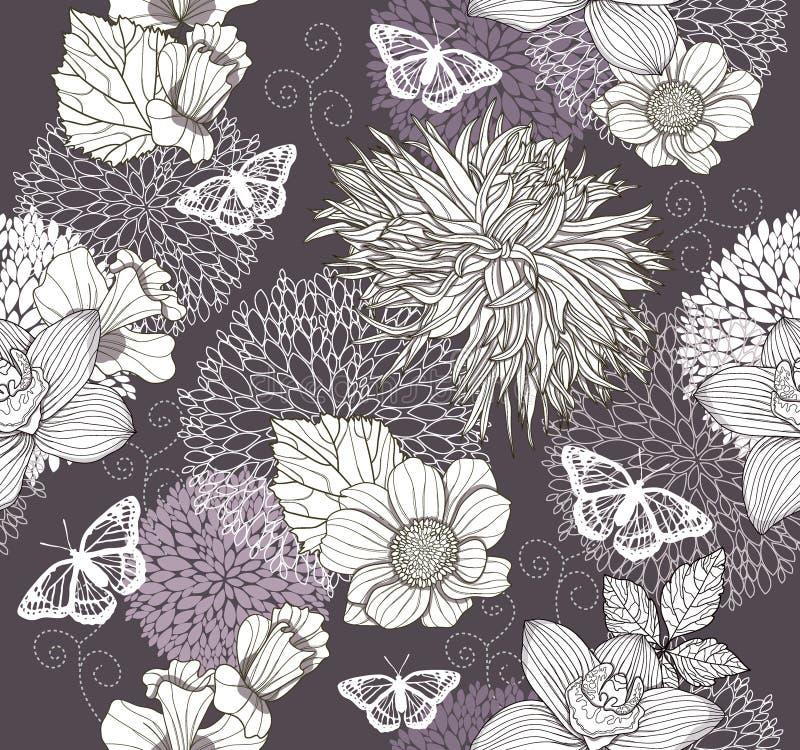 Naadloos patroon met bloemen en vlinder royalty-vrije illustratie