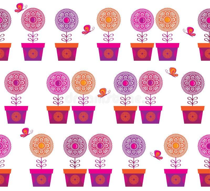 Naadloos patroon met bloemen en vlinders vector illustratie