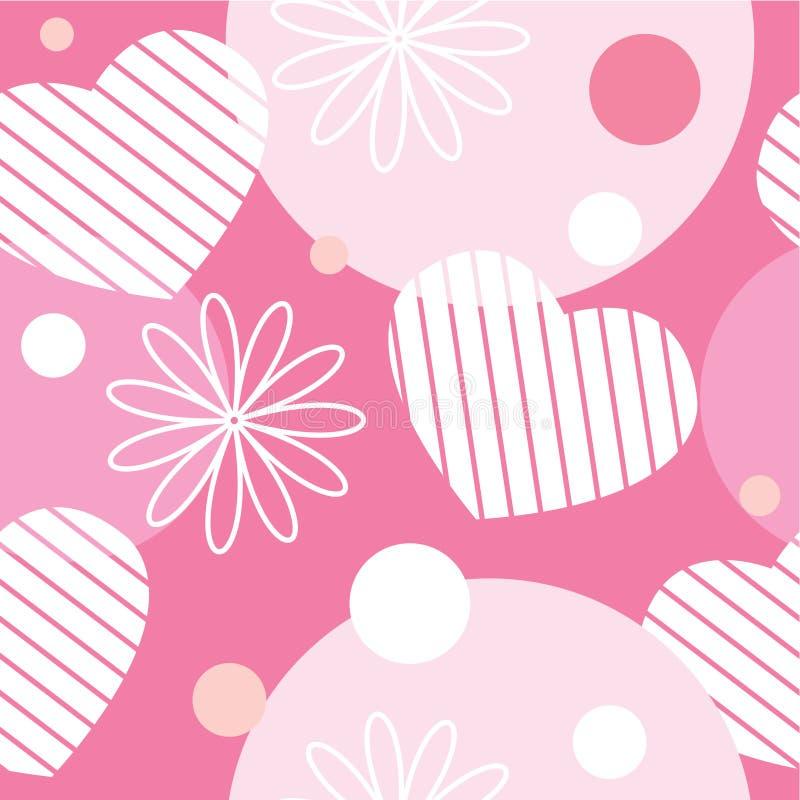 Naadloos patroon met bloemen, harten en cirkels royalty-vrije illustratie