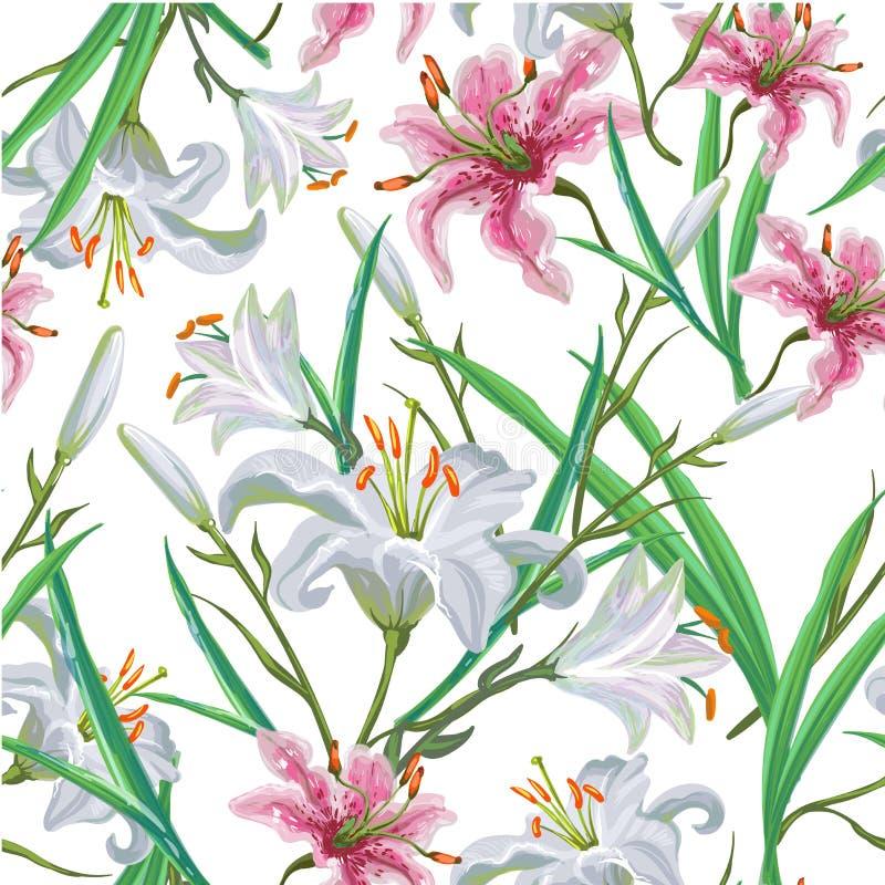 Naadloos patroon met bloemen Iris Lelie Vector Getrokken hand royalty-vrije illustratie