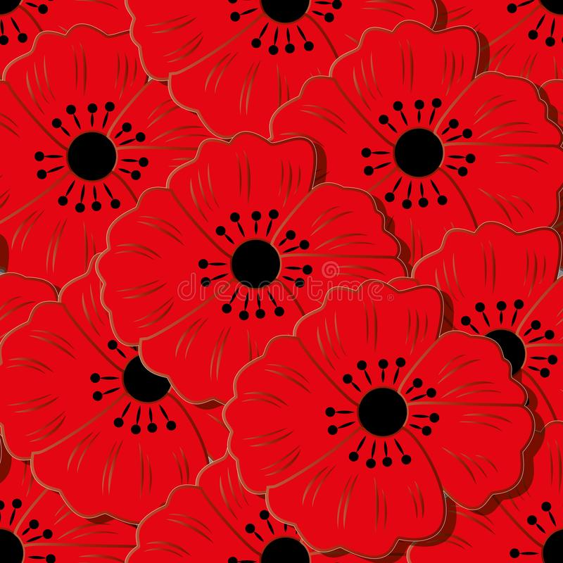 Naadloos patroon met bloemen Kan voor achtergrond, behang worden gebruikt stock illustratie