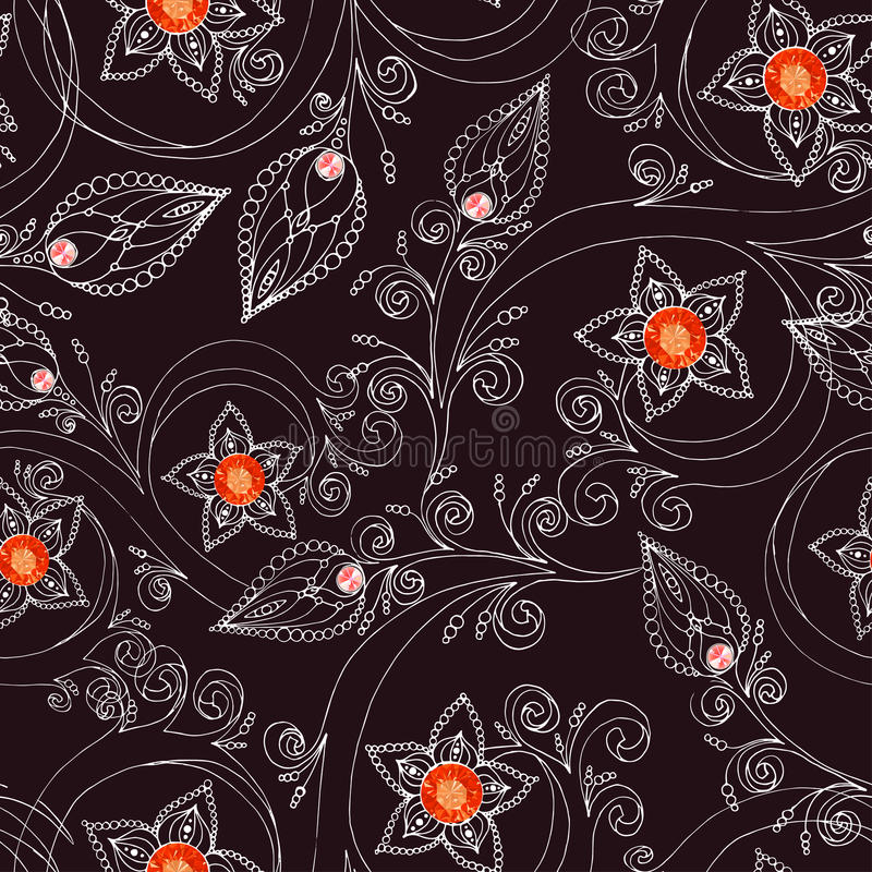 Naadloos patroon met bloemen, krabbels, en robijnen royalty-vrije illustratie