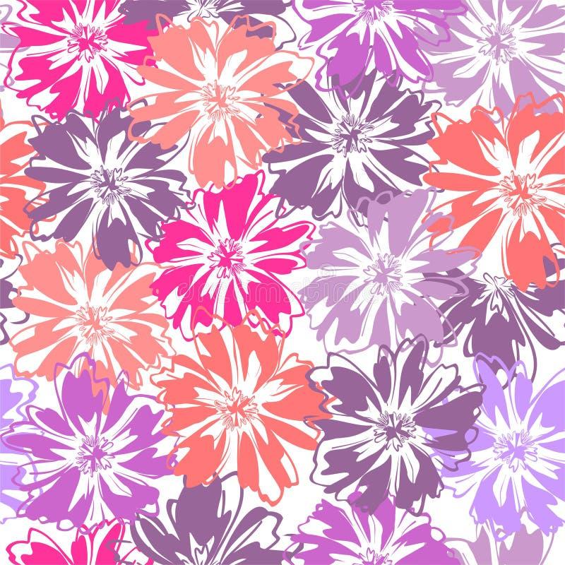 Naadloos patroon met bloemen op witte achtergrond royalty-vrije stock afbeelding
