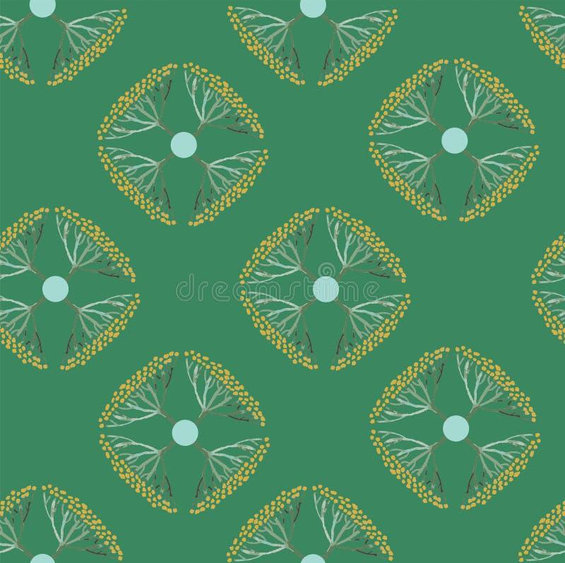 Naadloos patroon met bloemen in retro stijl stock illustratie