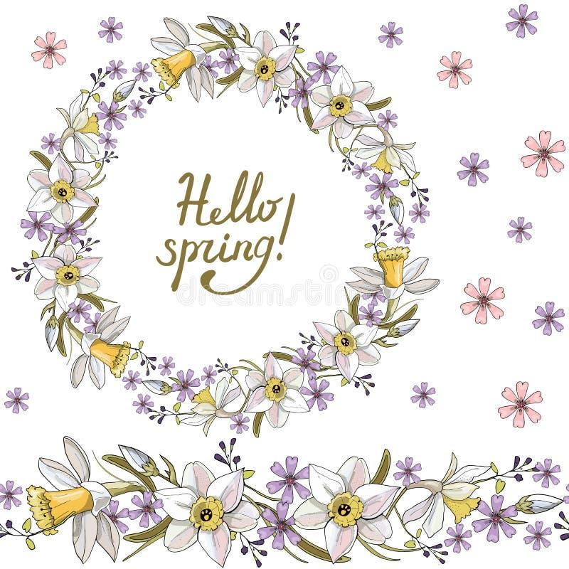 Naadloos patroon met bloemen romantische elementen Eindeloze textuur voor het ontwerp van de seizoenlente Narcissenbloemen stock illustratie
