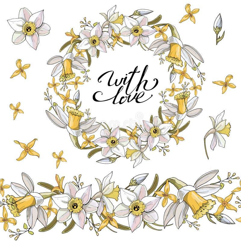 Naadloos patroon met bloemen romantische elementen Eindeloze textuur voor het ontwerp van de seizoenlente Narcissenbloemen vector illustratie