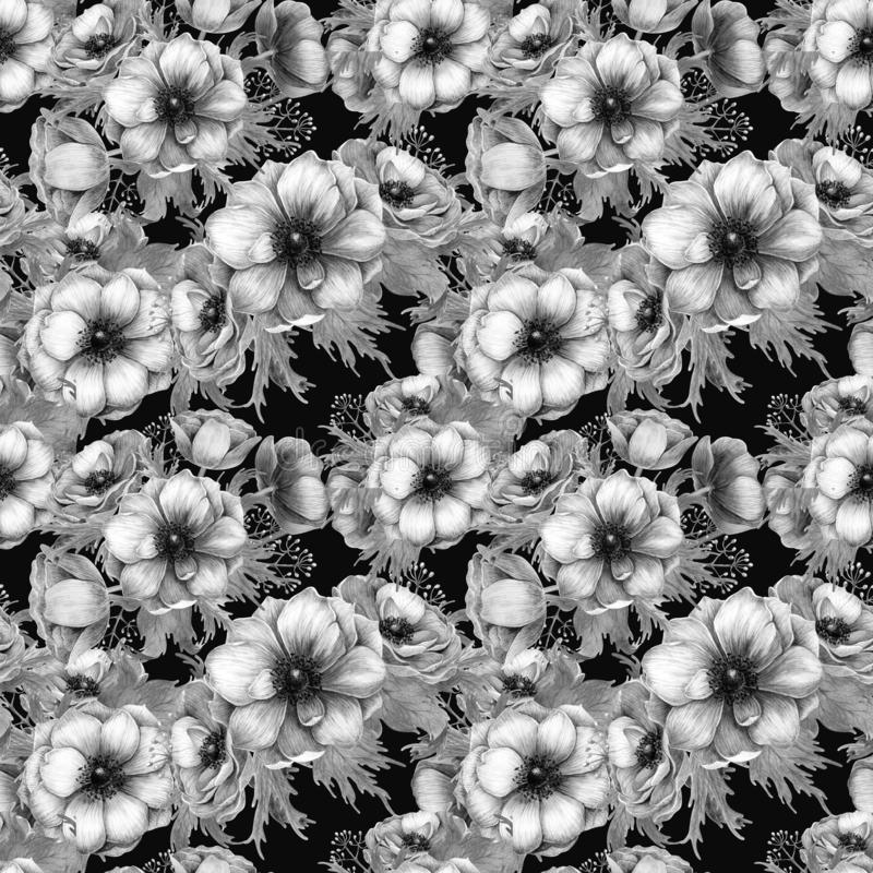 Naadloos patroon met bloemen van de waterverf de witte purpere anemoon De lente bloemenontwerp voor huwelijksuitnodiging vector illustratie
