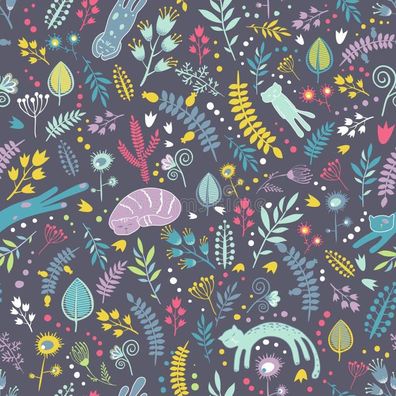 Naadloos patroon met bloemenelementen en beeldverhaalkatten stock illustratie