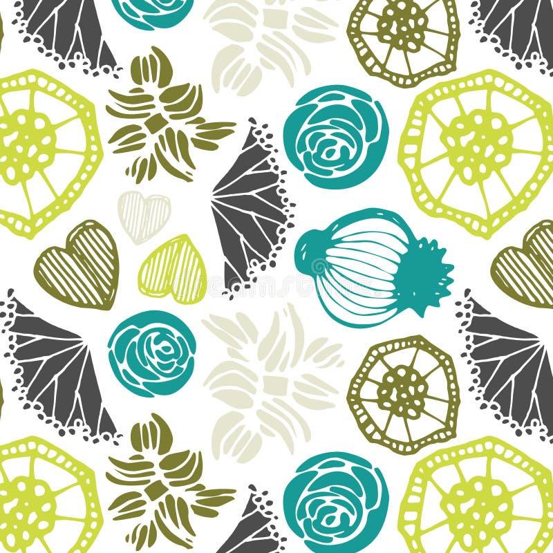 Naadloos patroon met bloemenelementen Vector abstracte achtergrond royalty-vrije illustratie