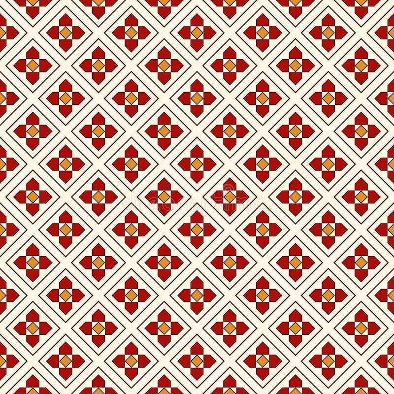 Naadloos patroon met bloemenmotief Minimalistische geometrische druk met bloemen Gecontroleerde abstracte achtergrond stock illustratie