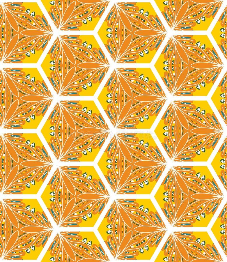 Naadloos patroon met bloemenmotieven Ontwerp voor druk op stof, omslag, document, Behang geelgroene kleur royalty-vrije illustratie