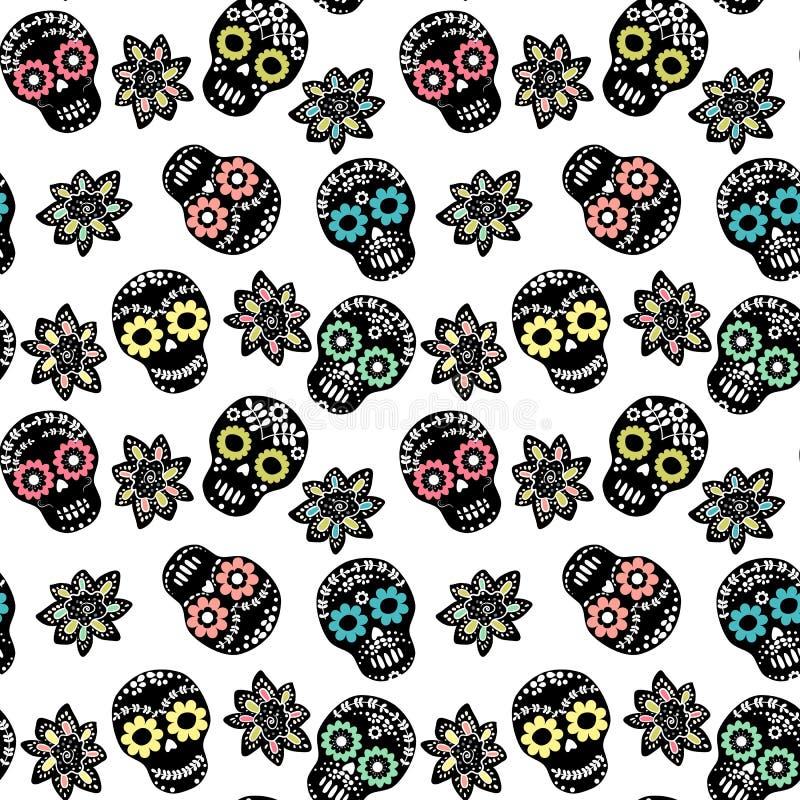 Naadloos patroon met bloemensuikerschedels en bloemen royalty-vrije illustratie