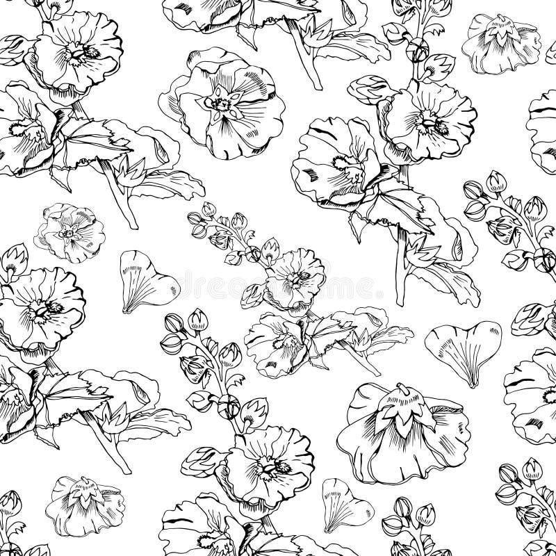 Naadloos patroon met boeket en enige bloemen van malve en bladeren Hand getrokken inktschets Zwarte elementen van malva bloemen vector illustratie