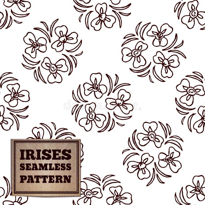 Naadloos patroon met boeket van irissen vector illustratie