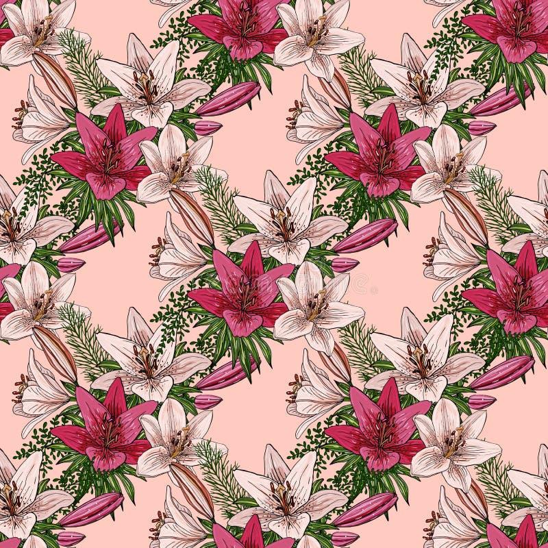 Naadloos patroon met boeketten van kleurrijke lelies op een lichtoranje achtergrond vector illustratie