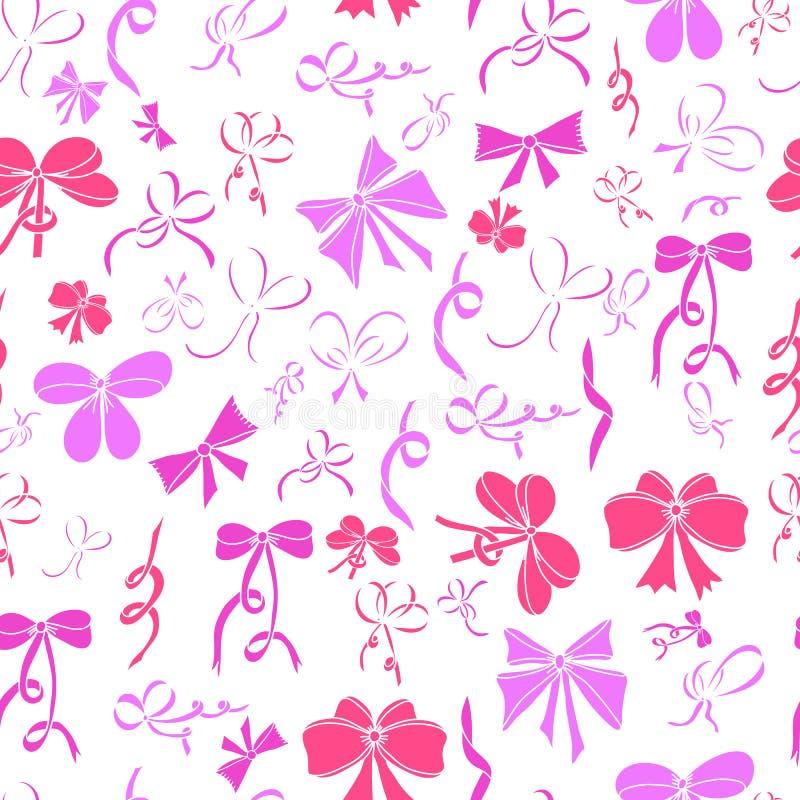 Naadloos patroon met bogen Roze bogen op witte achtergrond royalty-vrije illustratie