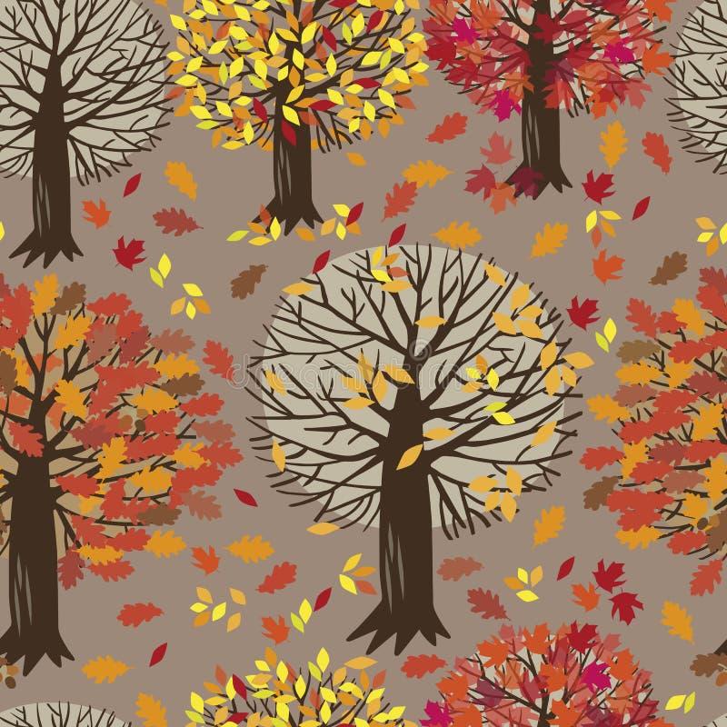Naadloos patroon met bomen stock illustratie
