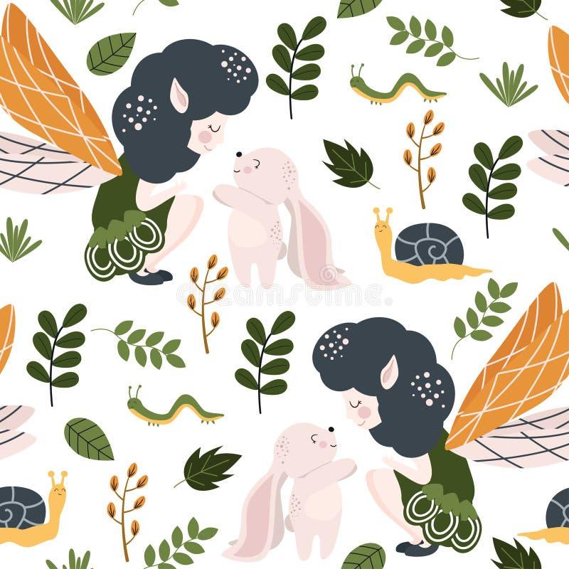 Naadloos patroon met bosfee en konijntje - vectorillustratie, eps vector illustratie