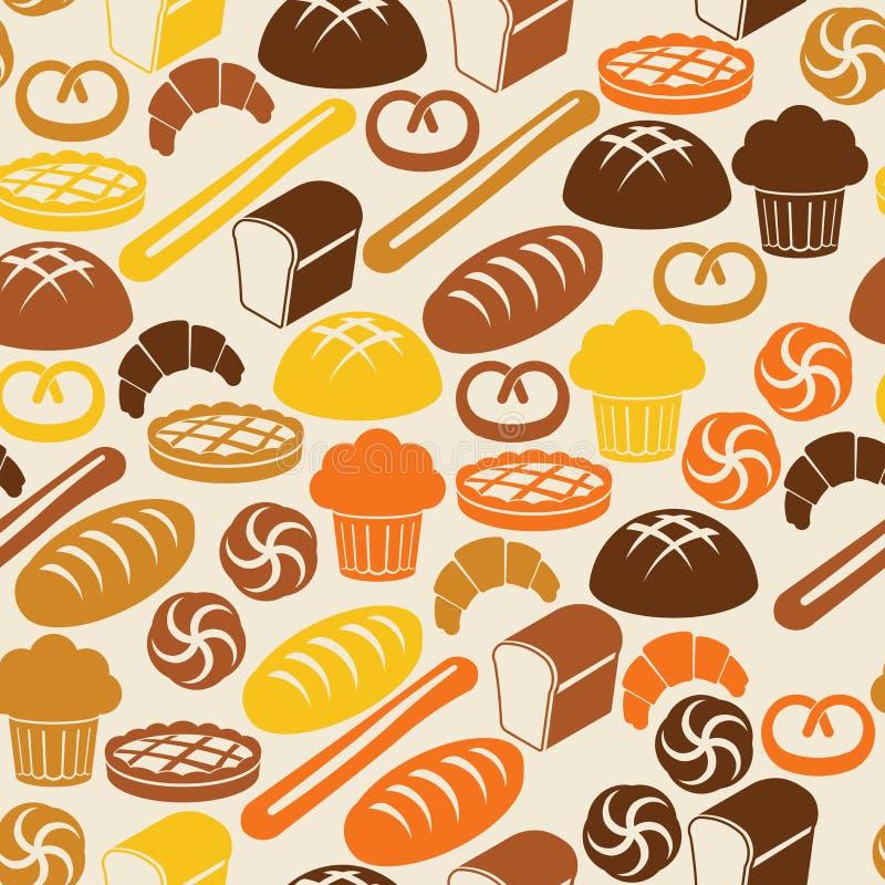 Naadloos patroon met brood en gebakje royalty-vrije illustratie