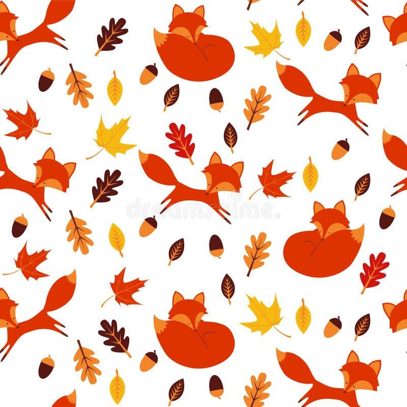 Naadloos patroon met bruin, esdoorn en eiken bladeren vector illustratie