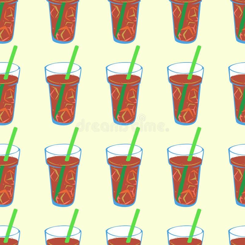 Naadloos patroon met bruine bruisende limonade stock illustratie