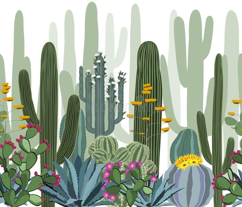 Naadloos patroon met cactus, agave, en vijgencactus royalty-vrije illustratie