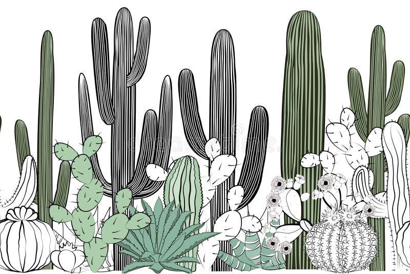 Naadloos patroon met cactus Wild cactusbos vector illustratie