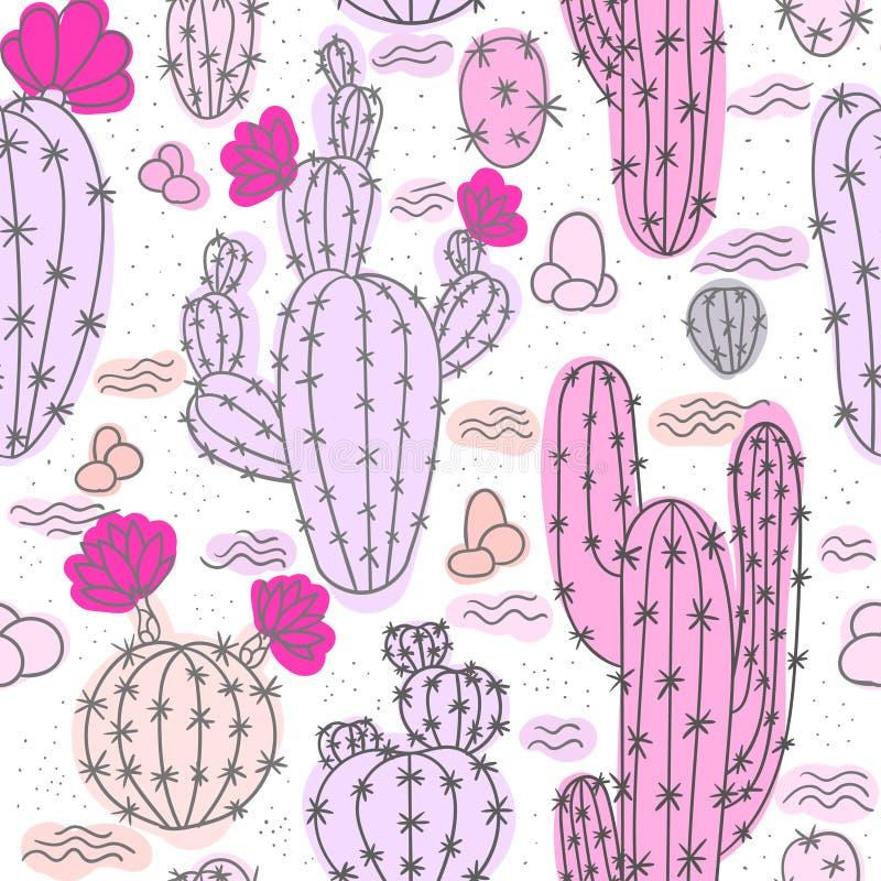 Naadloos patroon met cactussen royalty-vrije illustratie