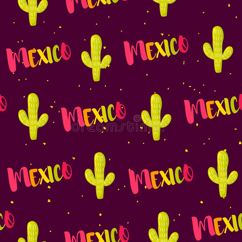 Naadloos patroon met cactussen en gekleurde teksten Mexico Vector royalty-vrije illustratie