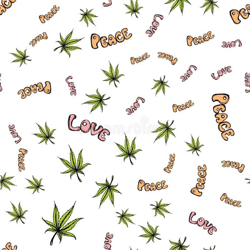 Naadloos patroon met cannabisblad, vrede, liefde royalty-vrije illustratie