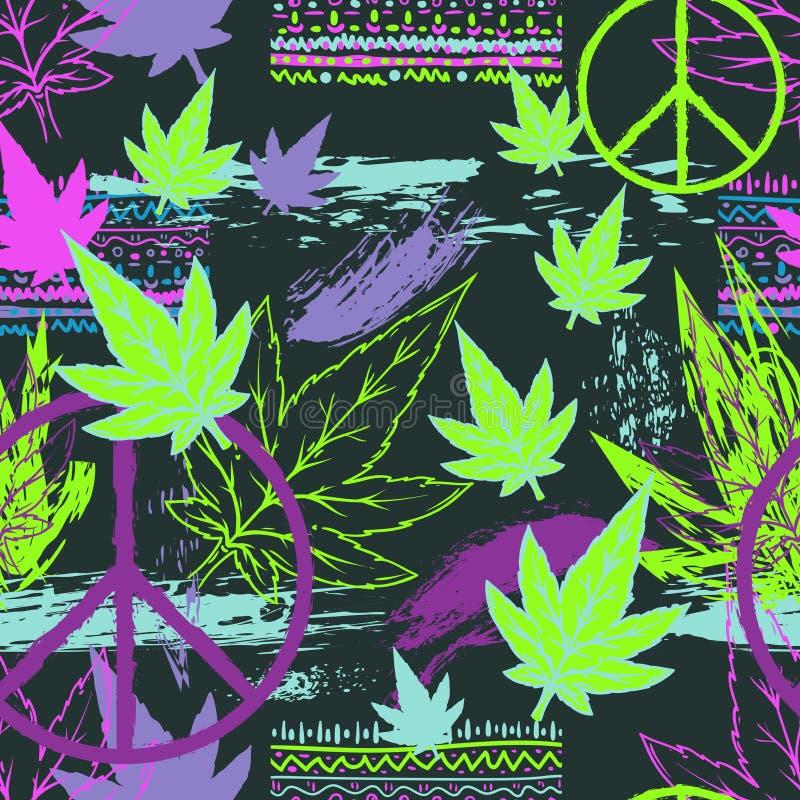 Naadloos patroon met cannabisbladeren, het symbool van de hippievrede, etnische ornament en grunge kwaststreken Abstracte achterg stock illustratie