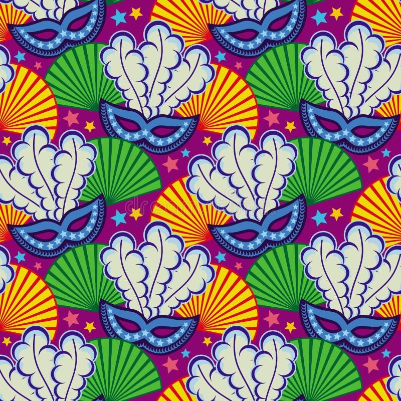 Naadloos patroon met Carnaval maskers Het art. van de roosterklem royalty-vrije illustratie